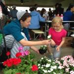 Emily Sensenig of Flinchbaugh's Orchard helps a child plant